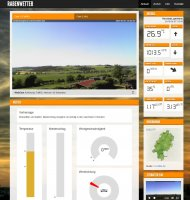 The start page featuring two webcams and live weather with modern instruments